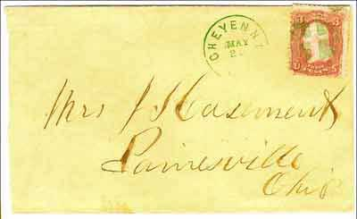 Figure 8. Cheyenne Dak, May 20 (1868) with cancels in green ink. Again, postmaster McLeland used a simple (and common) format for the killer a quartered circle. This type killer was used from May 13 to May 24, 1868 (from the author's collection).