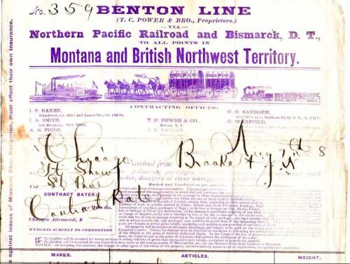 Figure 11. Bill of Lading (only the top portion is shown) from the Benton Line, dated Aug 7th, 1878. It is interesting that the illustrated letterhead shows all three primary modes of transportation of the day: steamboat, horse-drawn wagon, and steam locomotive.