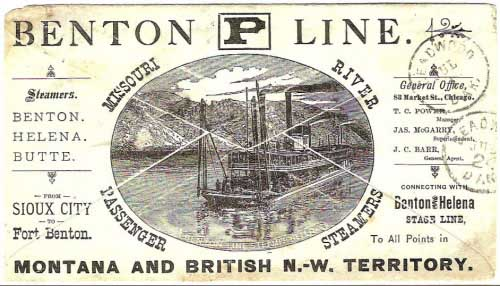 "Figure 14. Reverse of cover shown in Figure 13, showing all-over back ad for the Benton ""P"" line(6). The cover was initially received at the Deadwood post office on July 1, 1880 and then returned to Bismarck on July 24, 1880 (as noted by the two handstamps on the reverse of the cover)."