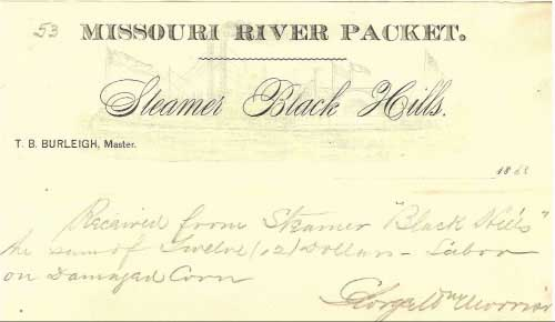 "Figure 18. Letterhead of the enclosure to the cover shown in Figure 17, noting ""received from Steamer 'Black Hills' the sum of twelve (12) dollars - labor on damaged corn""(6)."