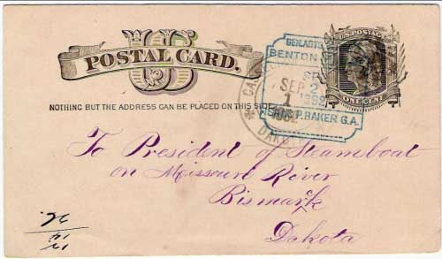 "Figure 19. Postcard cancelled ""Casselton, Cass Co., Dakota Sep 1, 1882"" with received marking in blue for Isaac P. Baker, G. A. (General Agent) for the Benton Line in Bismarck, Dakota."