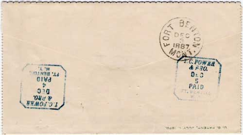 "Figure 21. Reverse side of the cover shown in Figure 20. In addition to the ""Fort Benton, Mont. Dec 3, 1887"" receiving postmark, there are two strikes of the addressee's received marking ""T. C. Power & Bro., Dec 5, Paid, Ft. Benton, M.T."""