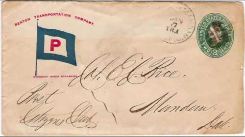 "Figure 22. Light strike of ""St. Paul & Mandan R.P.O. Jan 7 Tr1"" postmark. This cover is dated to 1887, 1888 or 1889, based on other usages of this marking. The corner card provides a great illustration of the Benton Line's company flag with the large ""P""."