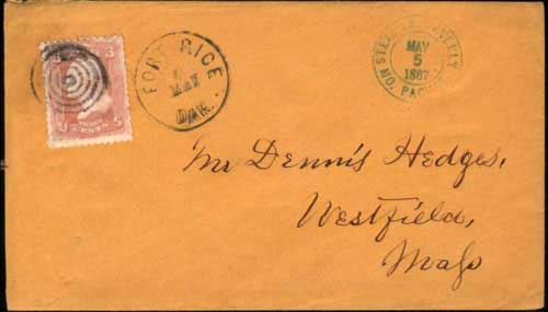 "Figure 24. Cover cancelled ""Fort Rice, Dak. May 6"" 1867 with nice handstamp from the ""Steamer Waverly, Mo. Packet, May 5, 1867""."