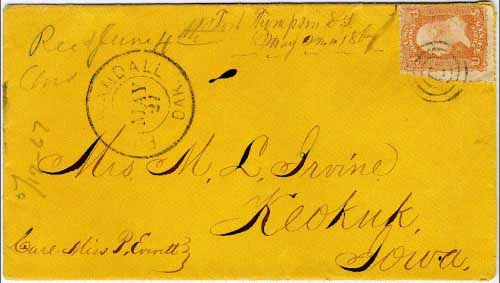 "Figure 25. This cover contains the provisional military marking ""Fort Thompson, D.T. May 22nd, 1867"" and the postmark (where it actually entered the mails) from ""Fort Randall Dak. May 27"". Fort Thompson did not have an official post office during the Dakota Territorial period. My belief is that this cover was carried aboard a steamboat, inside a mail packet, for the journey from Fort Thompson to Fort Randall where it entered the US mails."