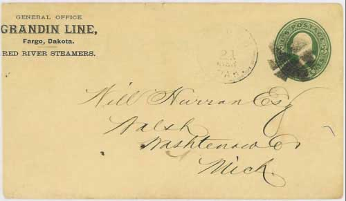 "Figure 28. Cover cancelled ""Fargo, Dak. Feb 21, 1883"" with Grandin Line, Red River Steamers, corner card. The Grandin Line was formed by the massive Grandin bonanza farming operation on the Red River north of Fargo."