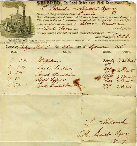 Figure 31. Bill of lading enclosed in the cover illustrated in Figure 30. The items are being shipped from the clerk at the Sisseton Indian Agency in Dakota Territory to a trader in Alma, Wisconsin via the Steamer Peoria.