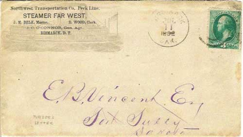 "Figure 5. Northwest Transportation Co. Peck Line. Steamer Far West corner card on cover cancelled ""Bismarck Dak. Jul 11, 1882"". A later example of a cover transported, at least in part, by the steamer Far West(6). By 1882, the Far West was a part of the Peck Line and no longer with the Coulson Line of steamers."