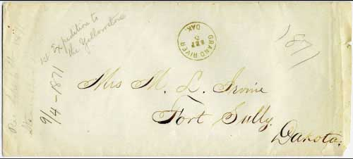 "Figure 6. ""Grand River, Dak. Sep 5"" (1871). This cover is from the same correspondence as the one shown in Figure 4. However, rather than contain any markings for the steamer Far West, the pencil notation at the left indicates ""Rec Sept 6th 1871/Steamboat Billenclure"". I can find no listing for a steamer so named. (Note that this legal size cover has been reduced in size to about 60% in order to fit on the page horizontally)."