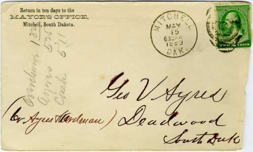 Mitchell, Dak. May 15 630PM 1889 postmark in black with duplex killer on 2c green banknote stamp. Mayor's Office corner card with South Dakota designation, in anticipation of statehood about six months later. Same type postmark as previous cover.