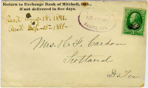 Mitchell, Dakota Ter. Aug 17, 1881 sawtooted oval postmark in purple with bullseye killer on 3c green banknote stamp. Exchange Bank of Mitchell, Dak. corner card.