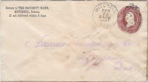 Mitchell, Dak. Dec 28 230PM 1887 postmark in black with duplex killer on 2c printed stamped envelope. The Security Bank, Mitchell, Dakota corner card.