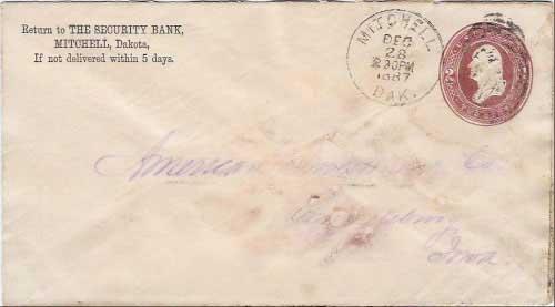 Mitchell, Dak. Dec 28 230PM 1887 postmark in black with duplex killer on 2c printed stamped envelope. The Security Bank, Mitchell, Dakota corner card.