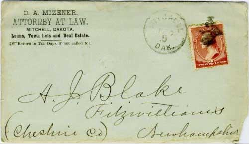 Mitchell, Dak. Dec 9 (1883) postmark in black with solid star killer on 2c brown banknote stamp. D.A. Mizener, Attorney at Law, Mitchell, Dakota corner card.