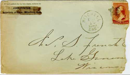 Mitchell, Dak. Oct 16, 1885, postmark in black with solid star killer on 2c brown banknote stamp. John Foster, Attorney at Law, Mitchell, Dak corner card. The blacking out of this corner card suggests is was used by another sender.
