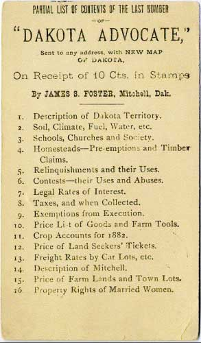 "Mitchell, Dak. Jan 5, 1883 postmark in black on government postal card. ""Dakota Advocate"" magazine back ad."