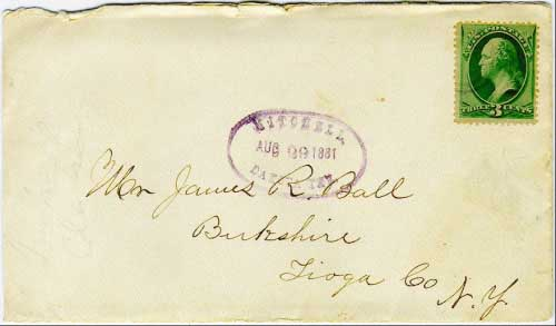 Mitchell, Dakota Ter. Aug 29 1881 sawtoothed oval postmark in purple with bullseye killer on 3c banknote issue stamp. Postmark known used from Feb 10, 1881 to Aug 29, 1881.