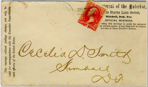 Mitchell, Dak. Jan 20 (1884) postmark in black with cork killer on 3c Department of Interior stamp. United States land Office, Mitchell Dak. Ter. penalty envelope with rare usage of Official stamp from Dakota Territory.