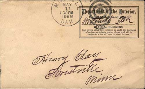Mitchell, Dak. May 1 130PM 1888, postmark in black with duplex killer on Department of Interior penalty envelope.