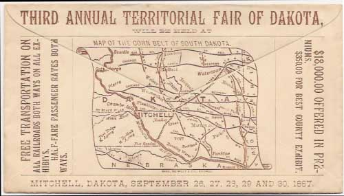 Mitchell, Dakota (Sept 26-30, 1887) unused envelope with printed overall back ad for the Third Annual Territorial Fair of Dakota, to be held in Mitchell