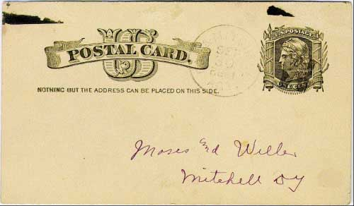"Cal & Mitchell Agt. Sep 30 1882 postmark in black with solid ""W"" (western portion of the line) killer on government postal card. The Calmar (Iowa) to Mitchell line of the Milwaukee system ran for 332 miles."