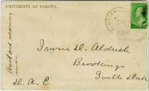 Manilla & Mitchell R.P.O. Apr 8 EAST 1889, postmark in black with cork killer on 2c green banknote adhesive. The Manilla (Iowa) to Mitchell line of the Milwaukee system ran for 228 miles. University of Dakota (Vermillion) corner card.