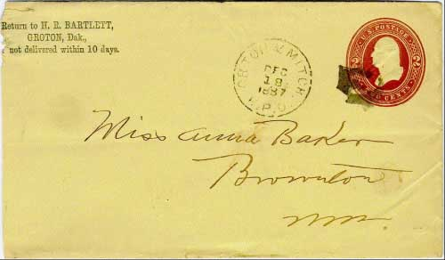 "Orton & Mitchell R.P.O. Dec 18, 1887 postmark in black with solid ""E"" (eastern portion of the line) killer on 2c brown postal stationery envelope. The Ortonville (Minnesota) to Mitchell line of the Milwaukee system ran for 238 miles."