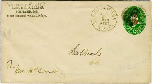St.Paul & Mitch R.P.O. Aug 2 1889 WEST postmark in black with cork killer on 2c green postal stationery envelope. The Saint Paul (Minnesota) to Mitchell line of the Milwaukee system ran for 426 miles.