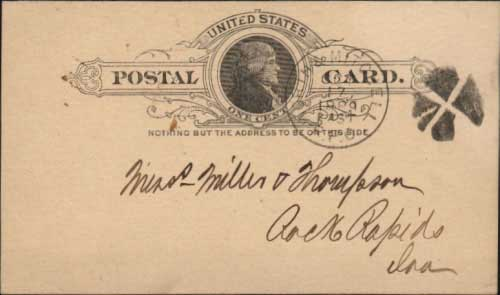 Worth & Mitchell R.P.O. Oct 17, 1889 postmark in black with quartered cork killer on government postal card. The Worthington (Minnesota) to Mitchell line of the Chicago and Northwestern system ran for 134 miles.