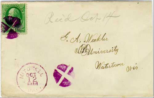 Mitchell, Dak. Oct 12 1881 postmark in purple with quartered cork killer on 3c banknote stamp. Postmark known used from Oct 6, 1881 to Dec 13, 1881.