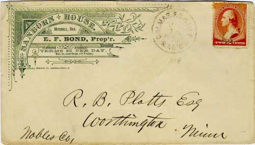 "Calmar & Chamb W.D. R.P.O. Jun 12, 1888 postmark in black with light cork killer on 2c brown banknote stamp. The Calmar (Iowa) to Chamberlain line of the Milwaukee system ran for 399 miles. The ""W.D."" denotes the ""Western Division"" of the route. Sanborn House, Mitchell, Dak corner card noting 'Bus to and from all Trains."