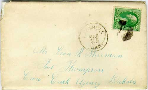 Mitchell, Dak. Mar 24 (1882) postmark in black with cork killer on 3c green banknote stamp. Postmark known used from Feb 14, 1882 to Apr 3, 1882. Enclosed letter transcribed, in part, below (with spelling in kind).