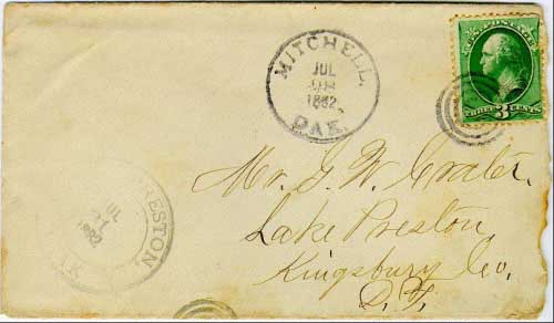 Mitchell, Dak. Jul 28, 1882 postmark in black with bullseye killer on 3c banknote stamp. Postmark known used from Apr 21, 1882 to Mar 11, 1883.
