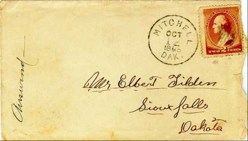 Mitchell, Dak. Oct 12, 1885 postmark in black with star killer on 2c banknote stamp. Postmark known used from Jan 27, 1885 to Jul 15, 1887.