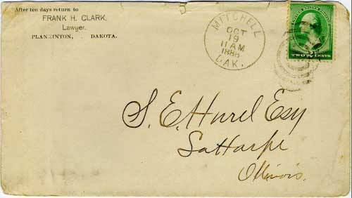 Mitchell, Dak. Oct 19 11AM 1888 postmark in black with duplex killer on 2c green banknote stamp. Postmark known used from Jul 11, 1887 to Feb 18, 1890 (into statehood).
