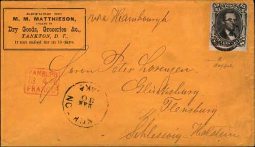 "Yanckton, Daka. Mar 30 1870, with manuscript routing note ""via Hamburgh"". 15c ""F"" grill adhesive pays the North German Union closed mail rate (in effect from January, 1868 to June, 1870). Sent in sealed pouch to New York with ""New York Paid AllDirect Apr 5"" in red on verso, then aboard the HAPAG steamer Hammonia II which arrived in Plymouth on April 15. Three day transit where ""Hamburg Franco"" marking was applied on April 18, 1870 (front), and finally delivered in Flensburgon April 19 in the second distribution of the day per ""Ausg. No. 2 19 4"" marking on verso. Only known usage of the 15c grilled Lincoln stamp from Dakota."