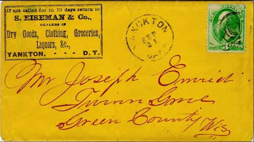Yanckton, Daka. Sep 21 (circa 1870). One of the later usages of this postmark, showing the degraded state of the dial and lettering.