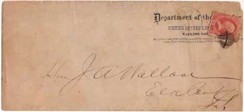 Yankton, Dak Apr 7 (circa 1874). Usage on 12c Department of Interior stamp on US Land Office penalty envelope.