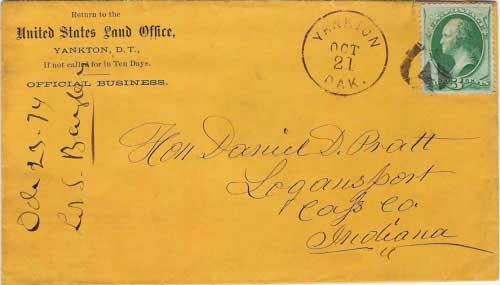 Yankton, Dak. Oct 21 1874. US Land Office corner card. Postmark used from October 21, 1871 to May 24, 1878.