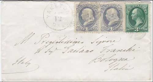 Yankton, Dak. Apr 12, 1878. 5c rate to Bologna Italy with April 30, 1878 Bolgona received marking. Standard 5c UPU rate paid with one 3c and two 1c banknotes.