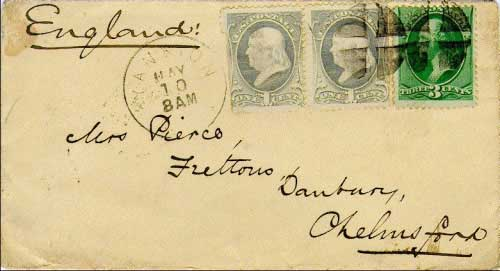 Yankton, Dak. May 10, 1883. Standard 5c UPU rate to Danbury, Chelmsford, England paid with one 3c and two 1c banknotes. Backstampsfrom Danbury (May 24) and Chelmsford (May 24, 1883). Postmark type known used from May 10, 1883 to February 9, 1885.