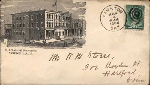 Yankton, Dak. Mar 14, 1888. Merchant's Hotel illustrated cover. Postmark type used from August 15, 1885 to May 8, 1890 (past statehood of November 2, 1889).