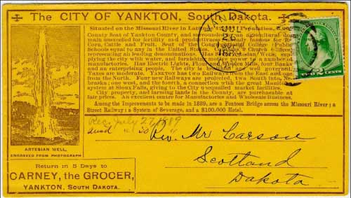 "Yankton, Dak. Jul 26, 1889. Overall ""chamber of commerce"" type ad for The City of Yankton, South Dakota (in anticipation of statehood a few months later). Backstamped ""Scotland, Dak. Jul 27, 1889"""