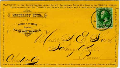 "Dak South Agt. Mar 17 (circa 1877). A different variety postmark from the Dakota Southern Railway. Merchant's Hotel advertising cover citing Yankton as the ""concentrating point"" for all emigrants to the Black Hills gold fields."