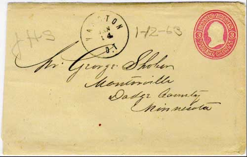 Yancton, D.T. Jan 14 1863. Twice weekly mail service on the Sioux City, Iowa to Fort Randall route. The enclosed letter mentions the organization of a military force to go after the Indians in the spring.