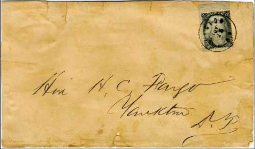 Yancton, D.T. Nov 25 (circa 1864). Only known solo usage of the 2c Blackjack stamp from Dakota Territory on drop rate letter.
