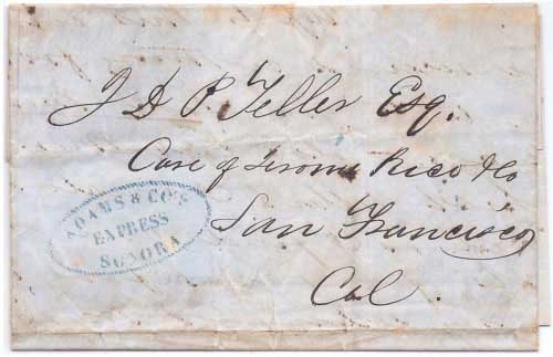 Adams & Co. Express Sonora on folded business letter