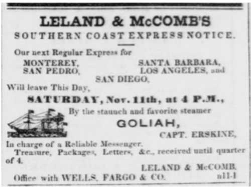 """Leland & McComb's Southern Coast Express"" from the Nov 11, 1854 Daily Alta California"