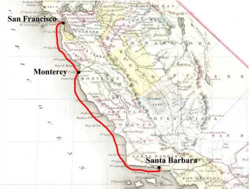 Leland & McComb's Southern Express route map from San Francisco to Santa Barbara