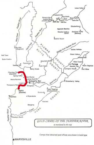 Gold Camps of the Feather River - Map of diggings from Cherokee Flat to Ophir (Oroville)